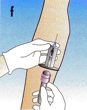 f. Daca se recolteaza mai mult de un vacutainer, inserati cel de-al doilea tub si repetati pasii descrisi mai sus